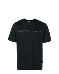 Мужская черно-белая футболка с круглым вырезом с принтом от Sankuanz