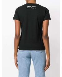 Женская черно-белая футболка с круглым вырезом с принтом от Societe Anonyme