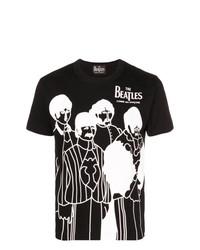 Мужская черно-белая футболка с круглым вырезом с принтом от The Beatles X Comme Des Garçons