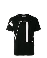 Мужская черно-белая футболка с круглым вырезом с принтом от Valentino