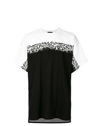 Мужская черно-белая футболка с круглым вырезом с принтом от Versace
