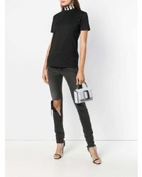 Женская черно-белая футболка с круглым вырезом с принтом от Versus