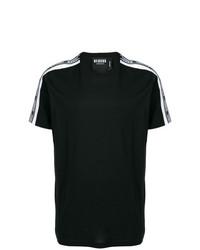 Мужская черно-белая футболка с круглым вырезом с принтом от Versus