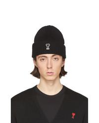 Мужская черно-белая шапка с принтом от AMI Alexandre Mattiussi