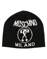 Мужская черно-белая шапка с принтом от Moschino