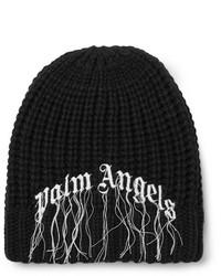 Мужская черно-белая шапка с принтом от Palm Angels