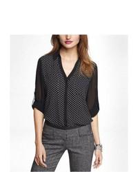 Черно-белая шифоновая классическая рубашка в горошек