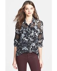 Черно-белая шифоновая классическая рубашка с принтом