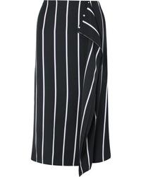 Черно-белая юбка-миди в вертикальную полоску