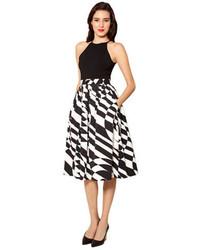 Черно-белая юбка-миди с принтом