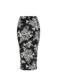 Черно-белая юбка-миди с цветочным принтом