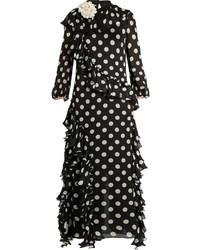 Черно-белое вечернее платье в горошек