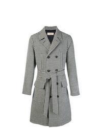 """Черно-белое длинное пальто с узором """"гусиные лапки"""""""