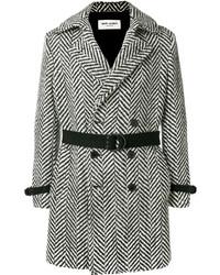 Черно-белое длинное пальто