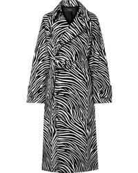 Черно-белое пальто с принтом