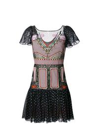 Женское черно-белое платье с пышной юбкой в горошек от Temperley London