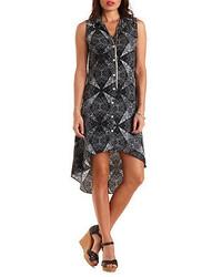 Черно-белое шифоновое платье-рубашка с принтом