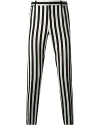 Черно-белые брюки чинос в вертикальную полоску