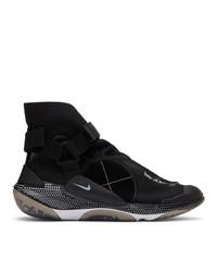 Мужские черно-белые высокие кеды из плотной ткани с вышивкой от Nike