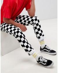 Черно-белые зауженные джинсы