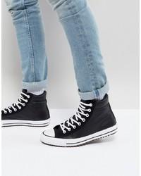 Мужские черно-белые кожаные высокие кеды от Converse