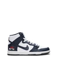 Мужские черно-белые кожаные высокие кеды от Nike
