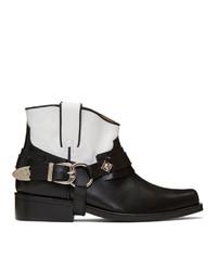 Черно-белые кожаные ковбойские сапоги