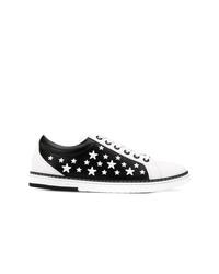 Черно-белые кожаные низкие кеды со звездами