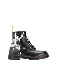 Мужские черно-белые кожаные повседневные ботинки от Dr. Martens