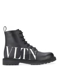 Мужские черно-белые кожаные повседневные ботинки от Valentino