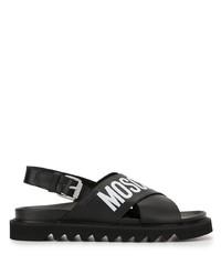 Мужские черно-белые кожаные сандалии с принтом от Moschino
