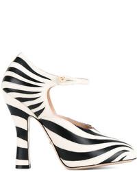 Черно-белые кожаные туфли в горизонтальную полоску от Gucci