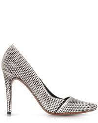 Черно-белые кожаные туфли с принтом