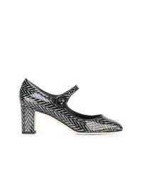 Черно-белые кожаные туфли с принтом от Dolce & Gabbana