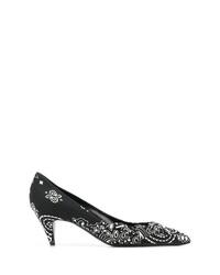 Черно-белые кожаные туфли с принтом от Saint Laurent