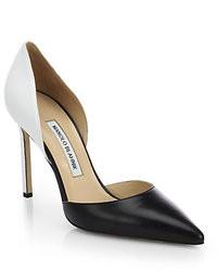 Черно-белые кожаные туфли