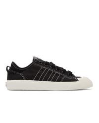 Мужские черно-белые низкие кеды из плотной ткани от adidas Originals