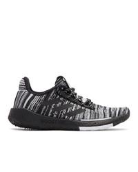 Женские черно-белые низкие кеды из плотной ткани от adidas x Missoni