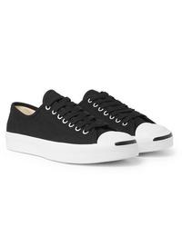 Мужские черно-белые низкие кеды из плотной ткани от Converse