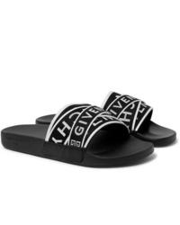 Черно-белые сандалии из плотной ткани