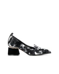 Черно-белые туфли из плотной ткани с принтом