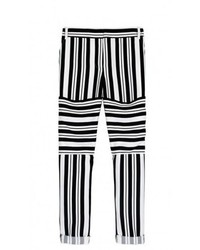 Черно-белые узкие брюки в горизонтальную полоску