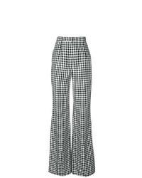 Черно-белые широкие брюки в клетку