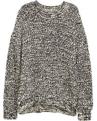Черно-белый вязаный свитер
