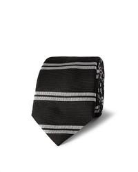 Мужской черно-белый галстук в горизонтальную полоску