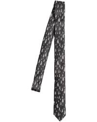 Черно-белый галстук с принтом