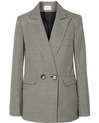 """Черно-белый двубортный пиджак с узором """"гусиные лапки"""""""