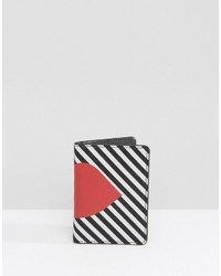 Черно-белый кожаный клатч в вертикальную полоску от Lulu Guinness
