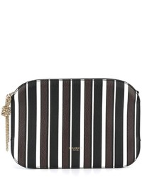 Черно-белый кожаный клатч в вертикальную полоску от Nina Ricci