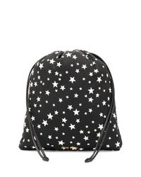 Черно-белый кожаный клатч со звездами